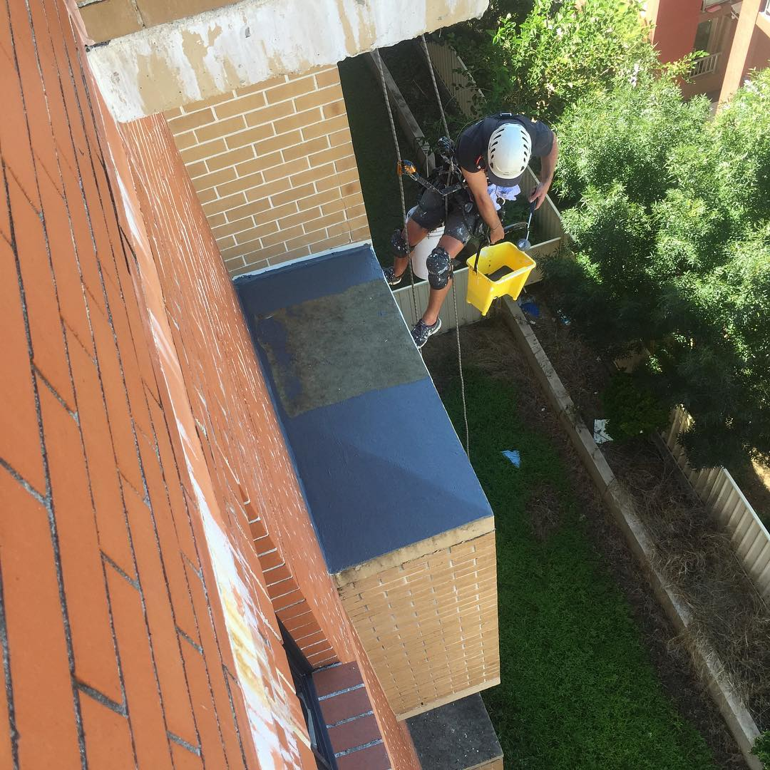 New Waterproof membrane being installed #ropeaccess